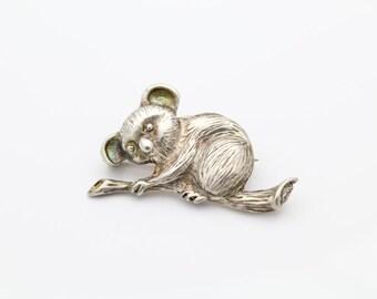 Chunky Sterling Silver Vintage Koala Bear Brooch. [6282]