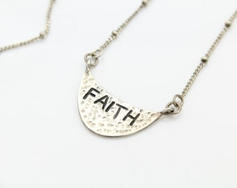 Inspirational Sterling Silver Faith Necklace. [6349]