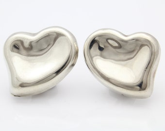 Large Puffy Heart Shaped Clip On Earrings in Sterling Silver 19g. [7905]