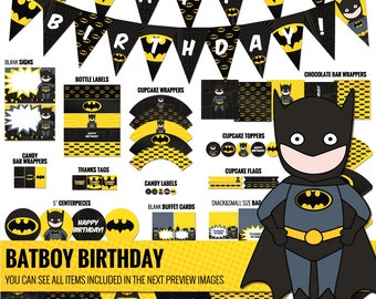 Batboy party package, to decor your Batman inspired birthday party - Printable PDF files.