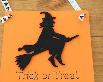 Hand painted wooden halloween witch sign