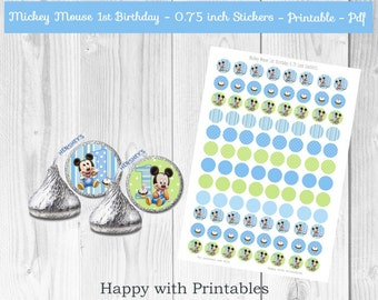 Mickey Mouse 1st bday 0.75 inch stickers - Printable kisses stickers - Stickers for Hershey's Kisses® Chocolate - Baby Mickey Mouse party