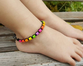 Kids Hemp Anklet, Neon Beads, Hemp Anklet, Lobster Clasp, Girls Jewelry, Beach Jewelry, Handmade Jewelry, Gift for Daughter, Adjustable