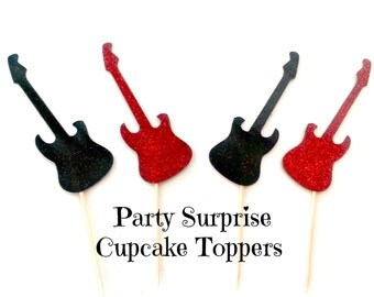 Guitar Cupcake Toppers Red and Black Glitter Guitar Cake and Cupcake Toppers Music Rock Star Rock n Roll Party Decorations