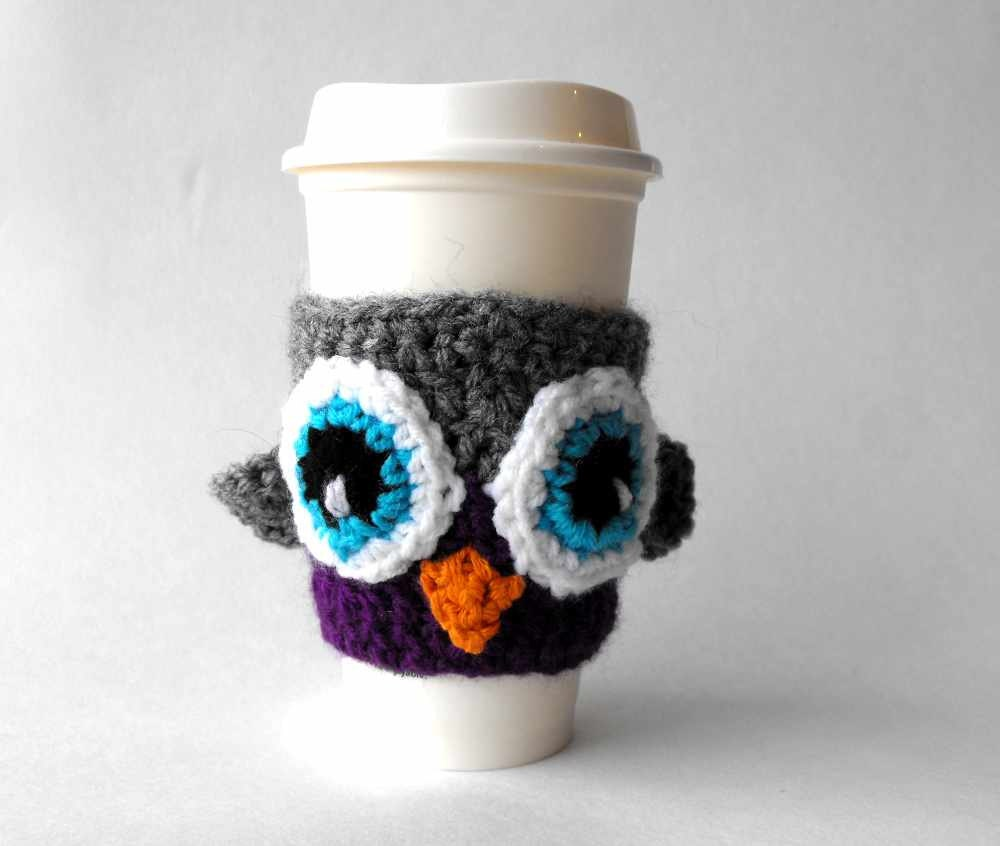 Owl Cup Cozy Crochet Coffee Sleeve Drink Warmer Travel Mug