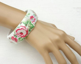 Antique roses bracelet Cath Kidston floral bangle. Flower pattern. Handmade unique  jewellery.