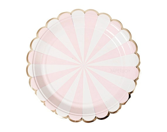 blush pink gold paper plates dessert scalloped foil. Black Bedroom Furniture Sets. Home Design Ideas