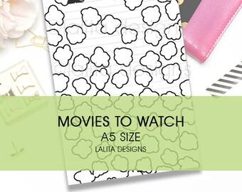 Filofax Kikki K Printable Movies to Watch Tracker Insert A5 Half Letter Size