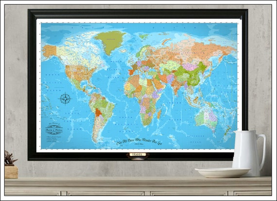 Push Pin Travel Map World Travel Map by WaterColorMaps on Etsy