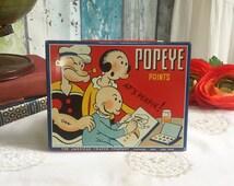 Antique Popeye Tin Litho Paint Box, Watercolor set. American Crayon co. Toy, retro, children, red, nursery décor decorative