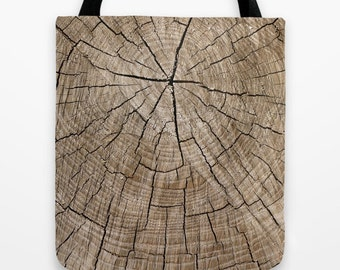 Wood Print Tote Bag - 18 x 18 Tote Bag - Market Bag - Market Tote - Tote Bag - Tote - Book Bag - Rustic - Brown - Weekender Bag