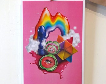 SALE! Plastic Paradise, 80s Barbie Inspired Digital Art With Rainbows and Fantasy