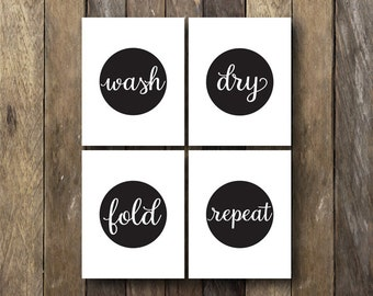 Laundry Room Printables - Instant Download 8x10 Art - Laundry Room Art - Wash Dry Fold Repeat - Laundry Room Prints