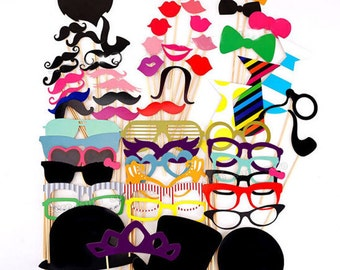 58 piece set Photo Booth Props Moustache on A Stick Weddings Christmas Birthday Party Fun