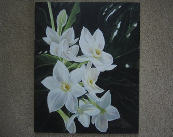 Paper Whites - Narcissus Flowers original acrylic painting
