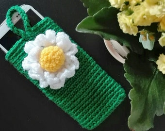 Mobile phone case handmade crochet and wool.