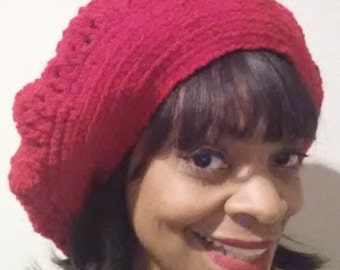 """Lacey Pattern - Satin-lined Slouchy """"Rasta"""" Hat for Natural Hair Styles and Braids"""