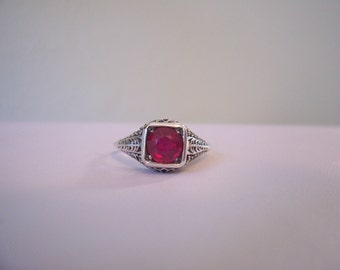 Natural Ruby Filagree Ring in Sterling Silver