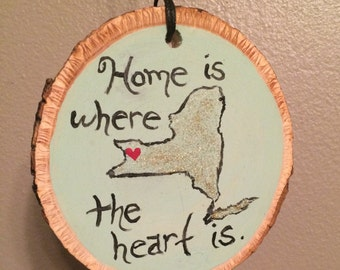 Home is where the heart is Buffalo & WNY hand painted mini wood sign