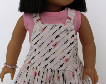 American Girl Doll Clothes - Summer Fun: Overall shorts and pink crop top