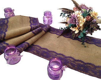"Burlap and DARK PURPLE Lace Table Runner - Rustic Wedding Table Runner - 12"" Width; Lace on Edges - Country Home Decor, Farmhouse Decor"