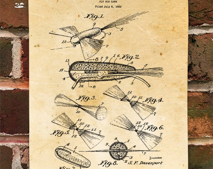 KillerBeeMoto: Duplicate of Original U.S. Patent Drawing For Vintage Fly Fishing Lures