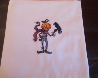Pumpkin head with crow kitchen towel
