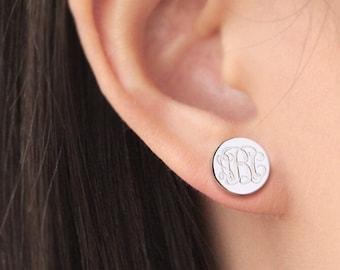 Monogrammed Sterling Silver Earrings, Stud Earrings, Post Earrings