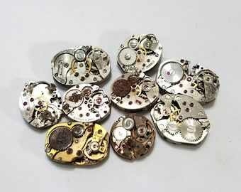 ON SALE, Vintage, Watch Movement, Lot, 9, Wristwatch, Set, Steampunk, Altered Art, Assemblage, Jewelry, Beading, Supply, Supplies