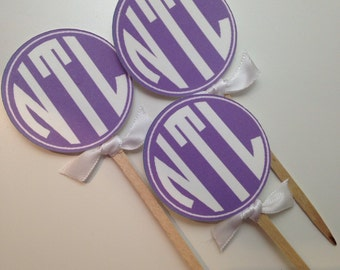 Round Monogram Cupcake Toppers