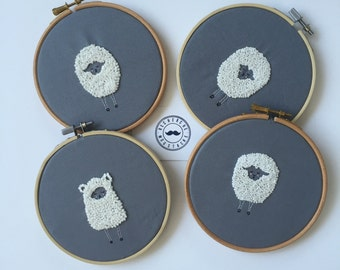Lamb embroidery hoop