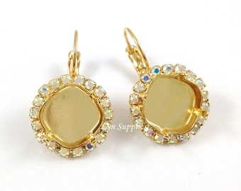 Crystal AB Rhinestone Gold Earrings Settings Base 1 Pair Fits 12mm Swarovski Crystal 4470