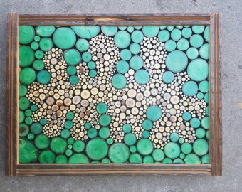 Reclaimed wood abstract twig mosaic green Blob