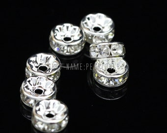 Rhinestone beads,6mm,8mm,10mm rhinestone accessory,silver plated,wedding earring necklace bracelet components,crystal beads,rhinestone beads