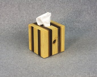 Tissue Box Cover - Handcrafted - Strips of Ash, White Oak & Walnut - Covers a 80 CT 2-PLY Kleenex® Box or 56 CT 2-Ply Puffs® Box