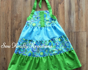 Girl's 3 Tier Halter Top Dress - Green and Blue Flowers and Stars