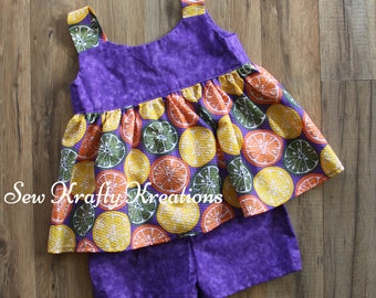 Girl's 2 Piece Set - Purple with Fruit Print Top with Purple Cotton Shorts