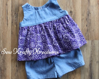 Little Girl's 2 Piece Set - Denim with Purple Bandana Print with Cotton Denim Shorts