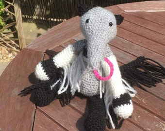 Crocheted Anteater. Amigurumi. Handcrafted. Made to order.