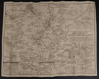 """Vintage 1987 Goodly Portion Of Beautiful Northeast Georgia Southern Hospitality Roadside Attraction Road Trip Map 23X17"""""""
