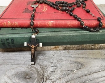 Vintage Brown Rosary Beads Catholic Rosary Made in France Beads with Cross