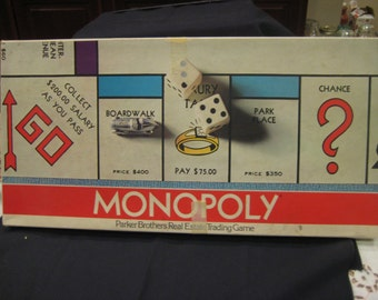 1974 Milton Bradley Monopoly Game Complete