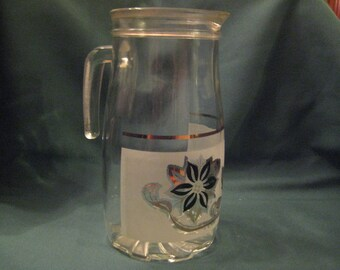 Cerve Italian Pitcher with Black and Gold Flowers