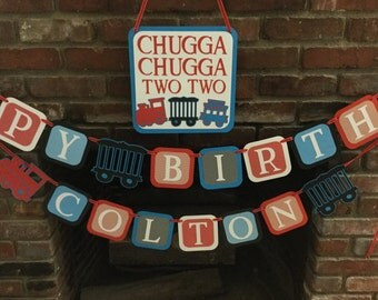 Choo choo Train Birthday party package/Chugga chugga two two party package/  Train 2nd birthday banner package
