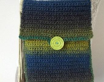 Handmade Crochet Purse, Lined Shoulder Bag, Fiber Handbag, Modern Bag, Turquoise Purse, Green, Rust, Mod, Vintage Button