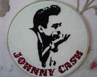 Johnny cash embroidery hoop