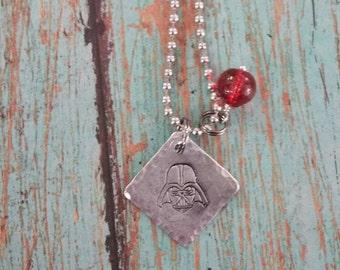 Handstamped Darth Vader Necklace Charm Pendant