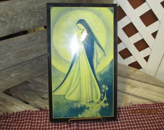 Vintage Wood Wall Hanging Mother of Light from Maryknoll Sisters 12 x 7 Original Label