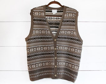 Vintage 80s 90s Cosby Sweater Vest - Men's Large Brown Button Vest - Grandpa Sweater