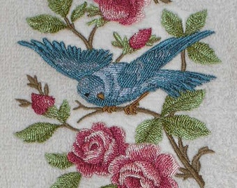 6 pc SET  BATh towels - Victorian Style Bluebirds with roses - Embroidered